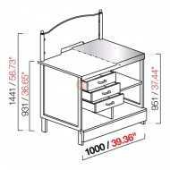 BANCO TABACCHI / TOTOCALCIO - SEMILAVORATO DA PANNELLARE - CON PIANO IN ACCIAIO INOX - DIMENSIONI CM L100 X P72,8 X H144,1