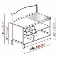 BANCO TABACCHI / TOTOCALCIO - SEMILAVORATO DA PANNELLARE - CON PIANO IN ACCIAIO INOX - DIMENSIONI CM L150 X P72,8 X H144,1
