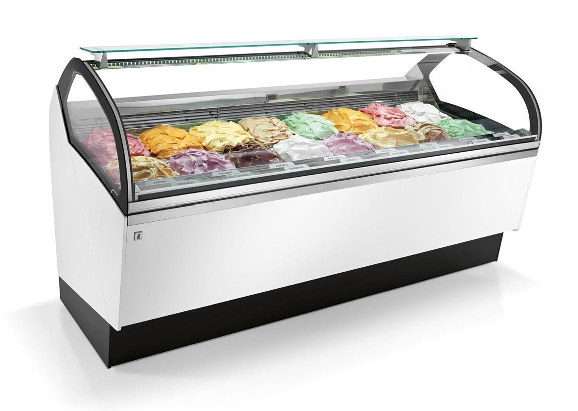 Vetrina gelateria refrigerazione ventilata illuminazione led tempe