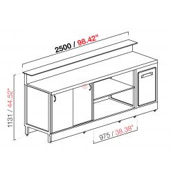 BANCO BAR NEUTRO - SEMILAVORATO DA PANNELLARE - PIANO LAVORO CON INVASO - DIMENSIONI CM L250 X P70 X H113,1