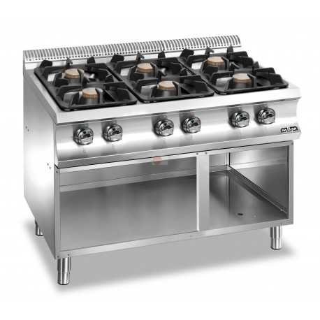 Cucina a gas 6 fuochi potenza 42 kw su armadio a giorno strut - Cucina 6 fuochi ...