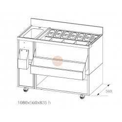 BANCO COCKTAIL IN ACCIAIO INOX AISI 304- COMPLETA DI VASCA E 7 VASCHETTE CON COPERCHI-DIMENSIONI CM L108 x P56 x H83,5