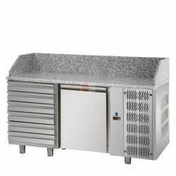 BANCO PIZZA REFRIGERATO - EURONORM (600 X 400 mm) -STRUTTURA INTERAMENTE IN ACCIAIO INOX AISI 304 - 1 PORTA - 6 CASSETTI NEUTRI - PIANO IN GRANITO - TERMOSTATO DIGITALE - TEMPERATURA 0°/+10° - CAPACITA' 220 LITRI - REFRIGERAZIONE VENTILATA - SBRINAMENTO AUTOMATICO - DIMENSIONI CM L161 X P80 X H103/110