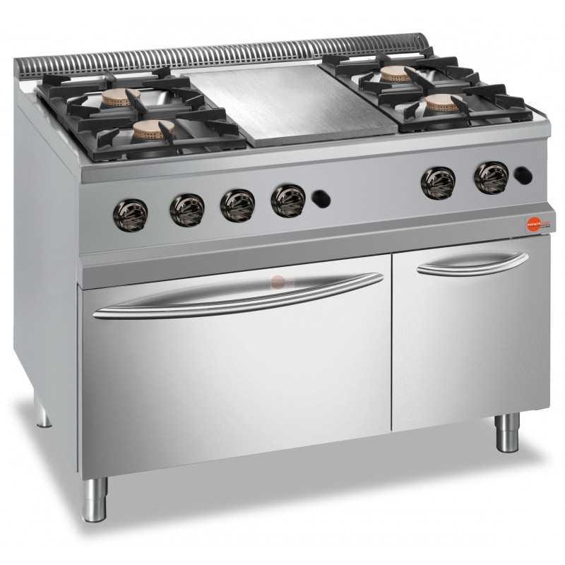 Cucina A Gas 4 Fuochi Con Piastra Centrale Su Forno A Gas Int