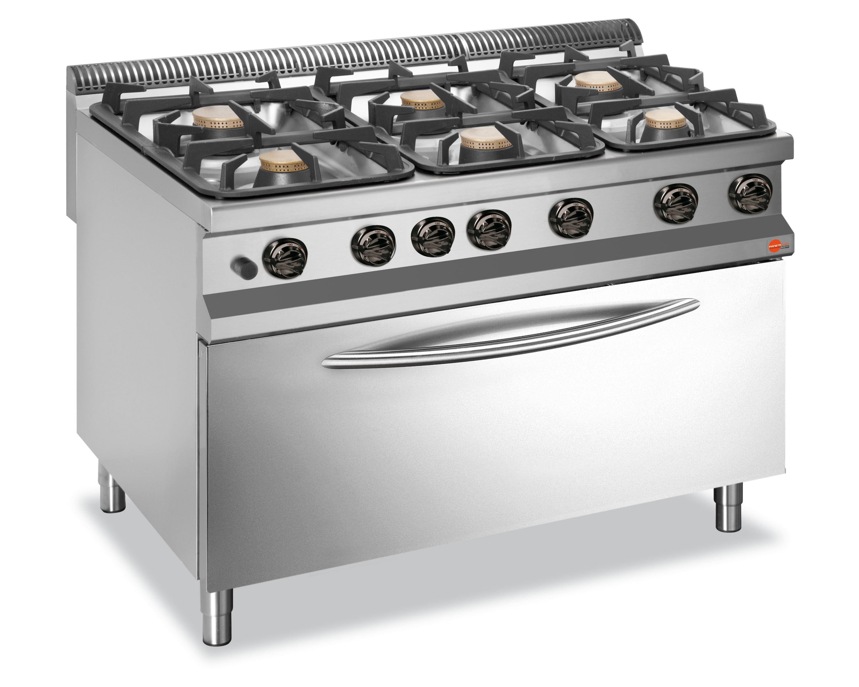 Cucina A Gas 6 Fuochi Con Forno Maxi A Gas Interamente In Accia