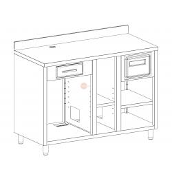 MOBILE MACCHINA CAFFE' - INTERAMENTE IN ACCIAIO INOX AISI 304 - CON 2 CASSETTI - E CON VANO LAVASTOVIGLIE - DIMENSIONI CM L 150 X P 70 X H 110